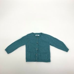 Baby Boden 12-18 Button Down Teal Cardigan Sweater